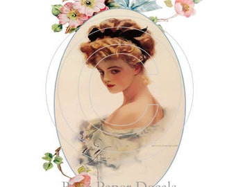 De-VW-21 Vintage Beautiful Shabby Victorian Lady Vintage Chic Decals