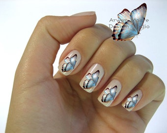 Beautiful Chic Blue Vintage Shabby Butterfly Nail Art Waterslide Water Nail Decals Miniature - bf-002