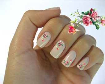 Very Chic Pink Vintage Shabby Victorian Rose Nail Art Waterslide Water Nail Decals Miniature - fw-002