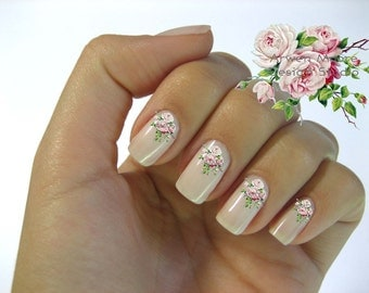 Very Chic Pink Shabby Victorian Vintage Rose Nail Art Waterslide Water Nail Decals Miniature - fw-005