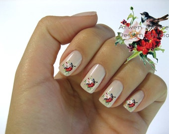Beautiful Vintage Style Chic Little Bird With Wild Roses Nail Art Waterslide Water Slide Miniture Decals - bd-004