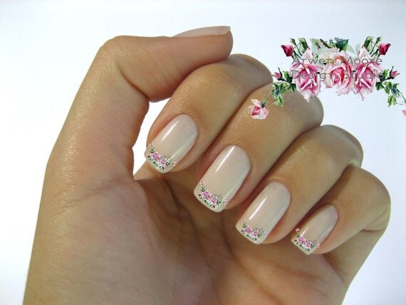 Very Chic Shabby Victorian Pink Vintage Rose Nail Art Waterslide Water Nail Decals Miniature - fw-004