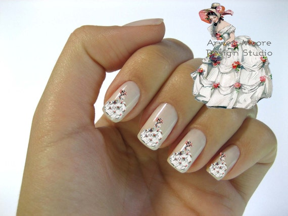 Very Chic Shabby Victorian Vintage Lady in Hat Nail Art Waterslide Water Nail Decals Miniature - wm-001