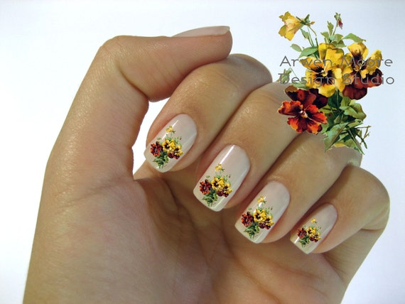 Very Chic Klein Shabby Victorian Yellow Red Boutique Roses Nail Art Waterslide Water Nail Decals Miniature - fw-016