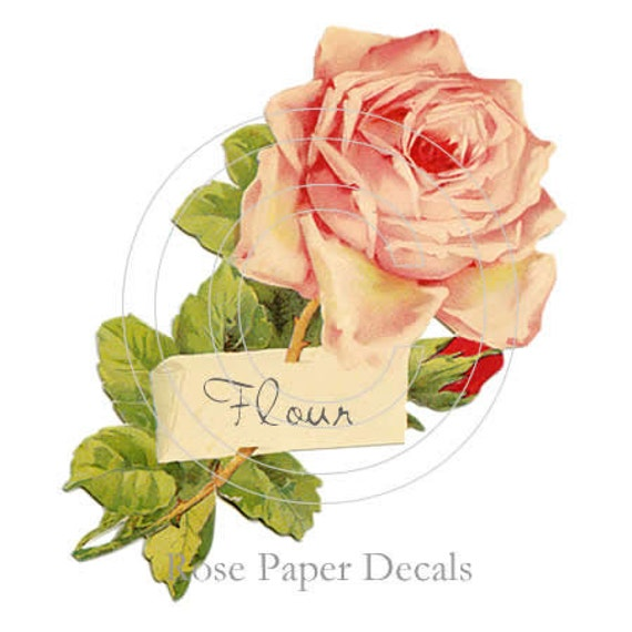 Shabby Vintage Chic Kitchen Label Pink Rose Waterslide Water Slide Decals lb-13