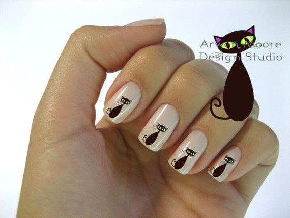 Very Chic Mod Black Cat Nail Art Waterslide Water Decals Miniature - cat-001