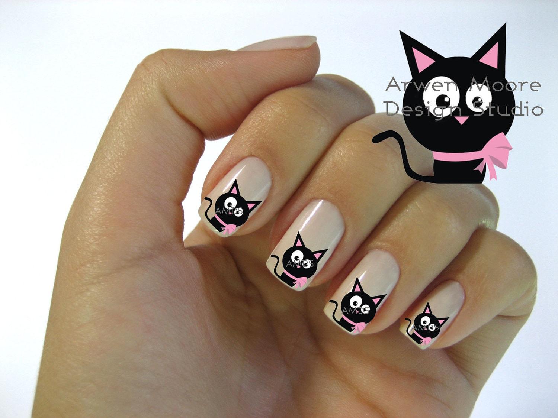 Very chic mod black cat pink gift bow nail art waterslide - Decoraciones de unas ...