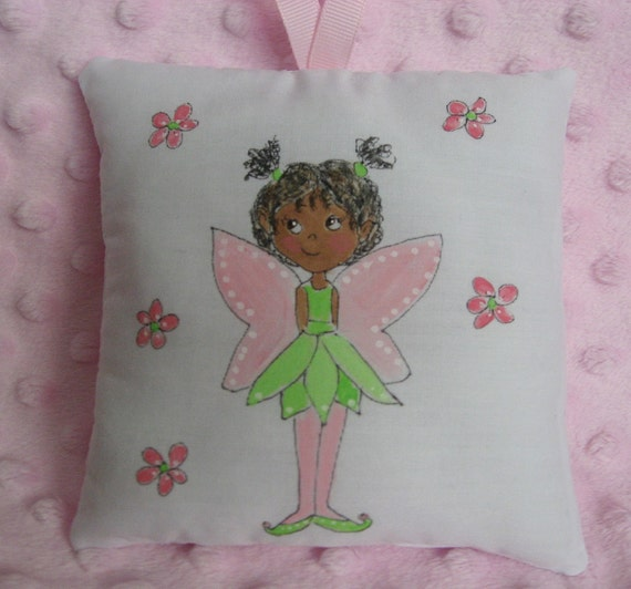 Tooth Fairy Pillow - Personalized FREE - Dark Skin - Hand Painted- ON SALE