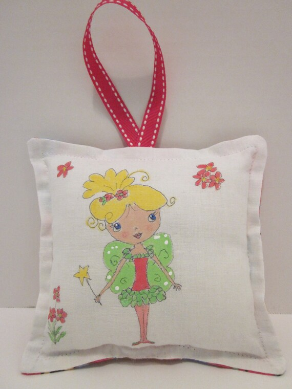 Personalized FREE - Girl Tooth Fairy Pillow - Fairy with blonde hair - Hand Painted