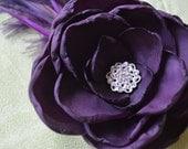 Hand-made egglpant/ purple silk, feather, & rhinestone hair flower or fascinator - bridesmaid/flower girl head piece