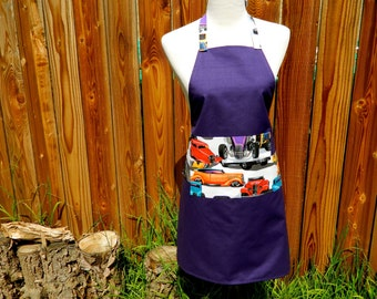 HAUTE ROD ROADSTER deep purple canvas chef style apron with colorful hot rods on white pockets and ties