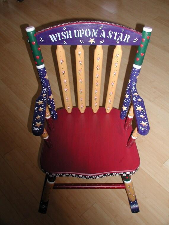 Red Rocking Chair Folk ~ Items similar to folk art rocking chair for children on etsy
