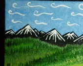 Mini painting. Dreaming in the mountains - 5 x 3 inches small painting on canvas.