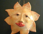 Sun face, ceramic wall art. Yellow sun face.