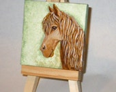 Horse portrait - mini painting on 3 x 3 inch canvas. Original painting.