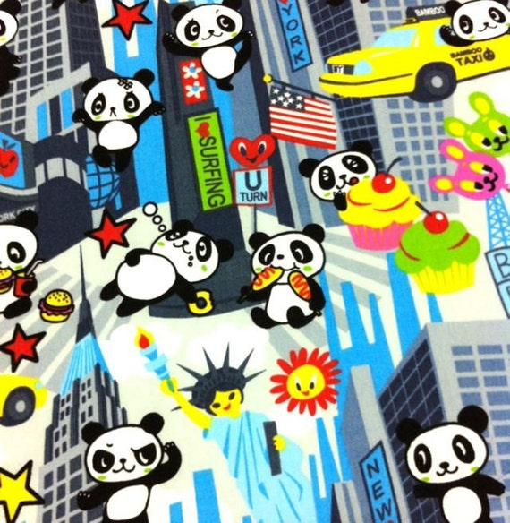 Kawaii Anime Fabric Brand New Super Panda in Smokey, 1/2 yd