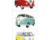 3 Volkswagen Campers - Limited edition archival print set