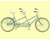 TANDEM BICYCLE DRAWING  - Archival Print 10 x 8