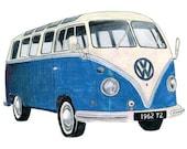 Blue Volkswagen Camper  - Limited edition archival print