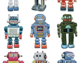 RETRO ROBOT DRAWINGS - Limited Edition Archival Print