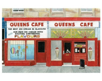 Queens Cafe, Glasgow - Limited Edition Print