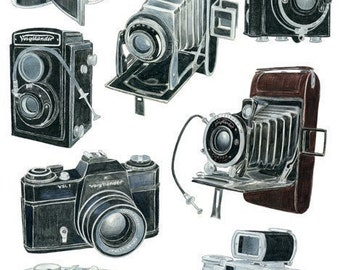 8 Voigtlander Camera Drawings - limited edition archival print