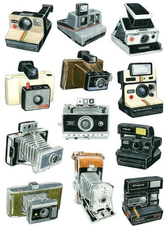 Camera Drawings 12 Polaroid Camera Drawings