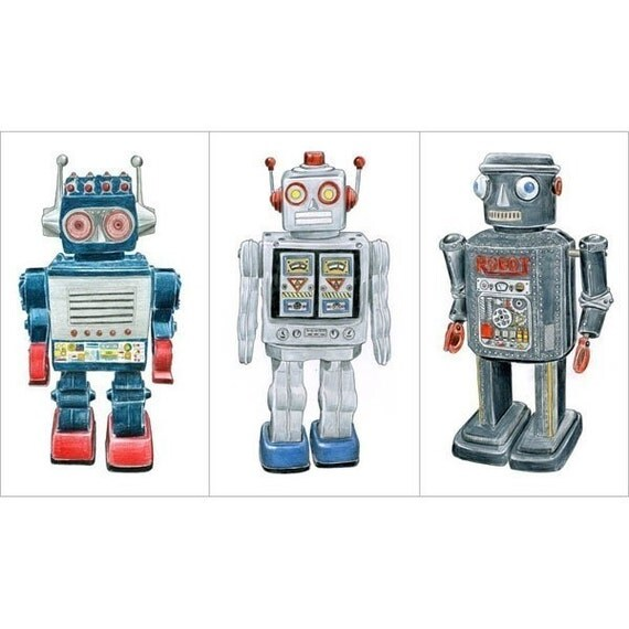3 RETRO ROBOT DRAWINGS - Limited Edition Print Set