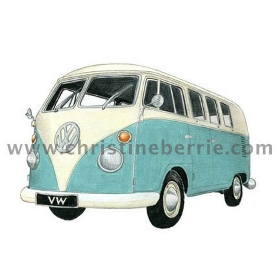 VW Camper Drawing - limited edition archival print