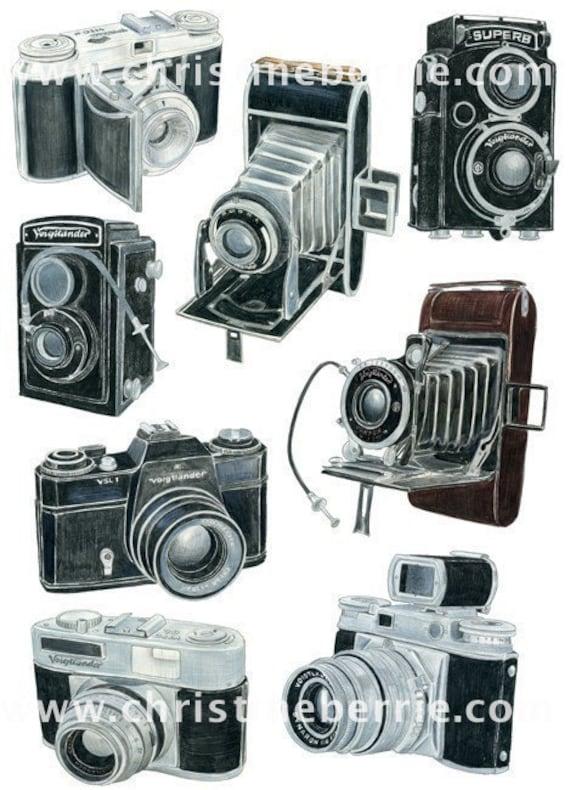 8 Voigtlander Camera Drawings limited edition archival print