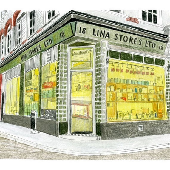 LINA STORES - Limited Edition Print of Original Drawing - 10 x 8''