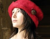 RESERVED so please do not buy it Thank you felt and cotton hat handmade in France ruby