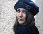 felt beret style hat handmade in france with merino wool sidney
