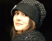 Polka dots felt casket rasta cap style hat  wool felt hat handmade in france jamie