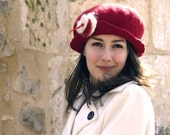 felt and cotton hat handmade in france  Ruby
