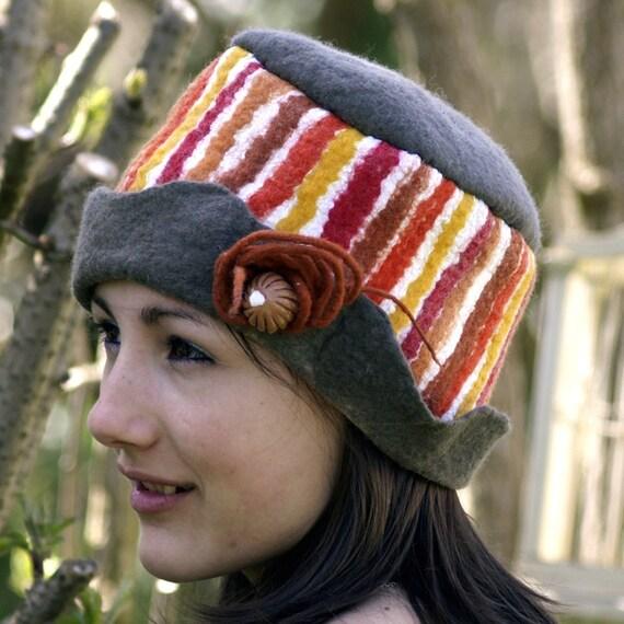 felt  and cotton hat  nuno felting. Luce