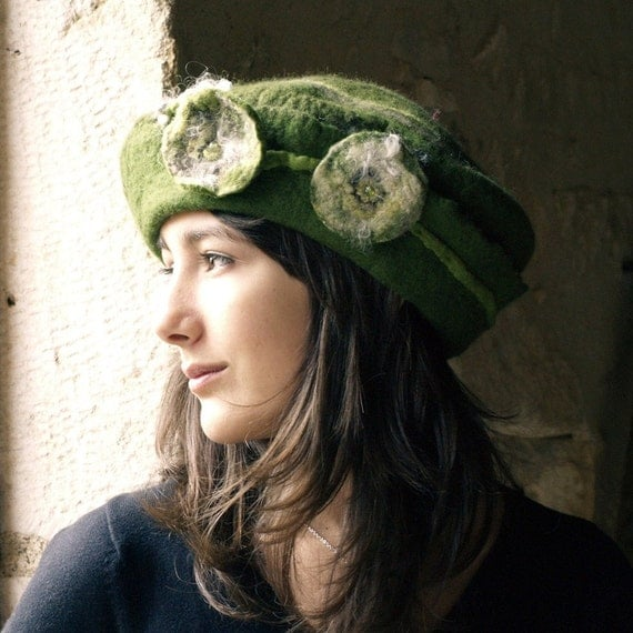 felt green hat handmade in france  paisely RESERVED