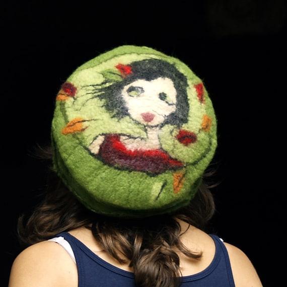 RESERVED felt beret style hat handmade in france with merino wool joe
