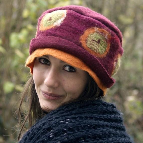wet felted hat handmade in france annete