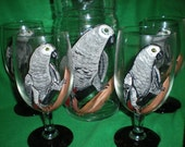 Hand painted Pitcher and ice tea set in African Gray Parrots.