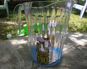 """Hand Painted   acrylic pitcher  in """"Sea Gals"""" Seagulls."""