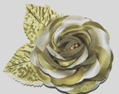 Fern Olive Green Ivory Hair Clip Flower Rose  Bridal Bridesmaid Hair Accessory PROM