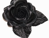 Black Satin Rose Flower Hair Clip or Pin/brooch Bridal Wedding Bridesmaid