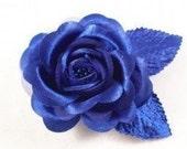Royal BLUE Rose Hair Clip or Brooch PROM Hair Flower Pinup Rockabilly Bridal