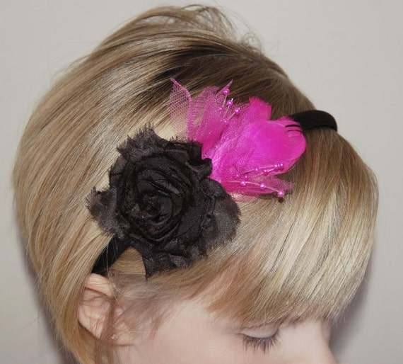 Girls Headband Pink Black Feather Tulle Flower Headband Preteen Teenager