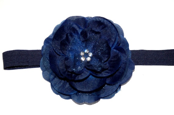 Navy Blue Baby Infant Flower Headband Newborn Toddler Elastic Headband 4th of July