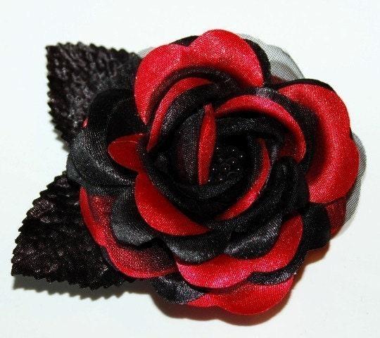 Black Flower Hair Accessory J7213: Pinup Hair Accessories RED BLACK Rose Hair Clip Flower