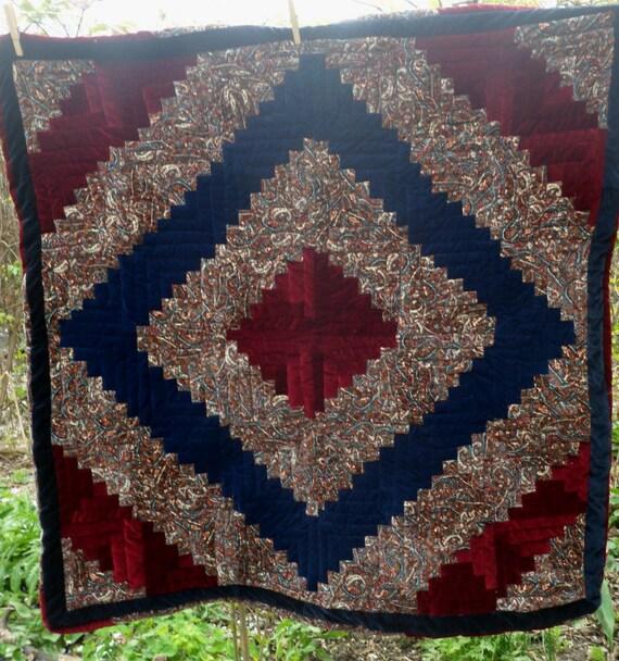 Velvet Log Cabin Quilt Reserved for Susan