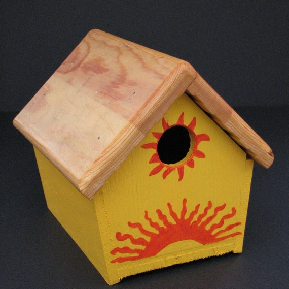 SALE - Painted and Stenciled Wren Birdhouse