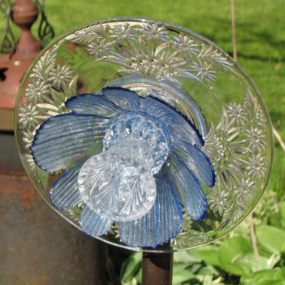 Upcycled Glass Flower Garden Sculpture - Clear and Blue